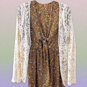cottagecore creme lace kimono top 🕊🌻